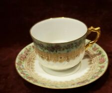 Limoges France Cup & Saucer Pale Green & Pink Floral Band Gold Accents & Handle