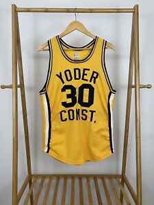 VTG Felco Yoder Const. #30 Yellow Stitched Jersey Size L USA