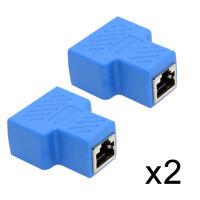 2pcs UTP STP Cat6 RJ45 8P8C Plug to Dual RJ45 Splitter Network Ethernet Adapter