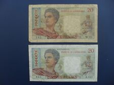 2No. 1963 Tahiti (Papeete/France/French Pacific) 20 Francs Banknotes Gf & aF