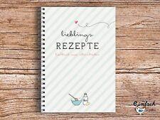 """""""Lieblingsrezepte"""" Rezeptbuch - Kochbuch A5 grün 2017 zum Selberschreiben"""