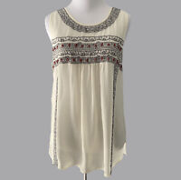 Joie Small S Silk Ivory Beaded Embroidered Boho Tank Sheer