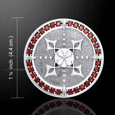 Viking Shield Garnet .925 Sterling Silver Pendant by Peter Stone