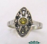 Sterling Silver Victorian Style CZ ring Israel 1960s