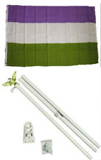 3x5 Gay Pride Genderqueer Rainbow Flag w/ 6' Ft White Flagpole Kit