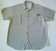 Columbia XL Mens Green White Gingham Plaid Shirt Short Sleeve Button Down Collar