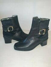 Womens Black Leather Velvet Ankle Heel Boots Size 6.5 M Zip