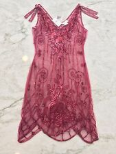 NWT MIGUELINA BURGUNDY RED SHEER MESH SEQUIN BEADED LACE DRESS COVER-UP SIZE S