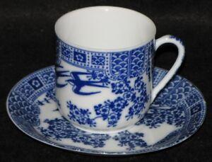 Antique Porcelain Blue White Bone China Demitasse Teacup&Saucer Geisha Lithopane