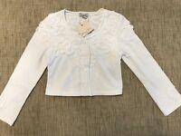 NWT ELIANE & LENA Paris KYRIELLE girl White Top Bolero Cardigan 5 10 12 45G02 A3