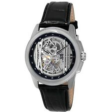 KENNETH COLE NY AUTOMATIC SKELETON DIAL BLACK LEATHER MEN'S WATCH KC8100 NEW