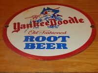 "VINTAGE YANKEE DOODLE OLD FASHIONED ROOT BEER 12"" PORCELAIN METAL SODA GAS SIGN!"