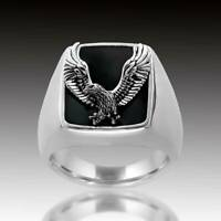Men's Fashion Punk Black Enamel Eagle Carved Ring Cool Party Biker Jewelry Gift