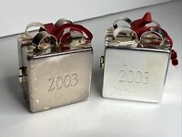 2 Silver Plated Present & Ribbon Bow Gift  Box Metal Christmas Ornaments 2003