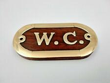 Plaque de porte en bois et laiton WC longueur 10cm pour maison,bateau,commerce..