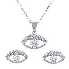 EVIL EYE NECKLACE & EARRING SET W/ LAB DIAMONDS / 925 STERLING SILVER / NEW!!!!