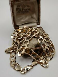 """Heavy 9ct Gold 18"""" inch Curb Link Necklace"""