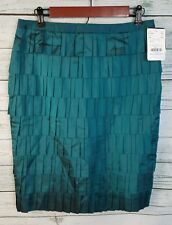 NWT $525 Doncaster Collection Pleated Tiered Skirt Teal 100% Silk Womens Size 6