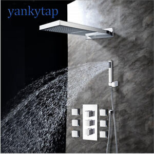 Waterfall Rainfall Shower Head Bathroom Square Shower Head 6 Spout And 2 Kinds