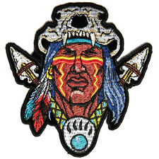 Embroidered Indian Skull Head Dress Spears Iron on Sew on Biker Patch Badge