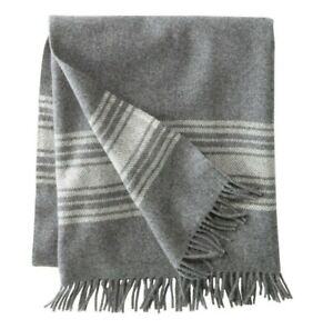 LL Bean Washable Wool Throw By Pendleton 54x60 Heather Gray and Cream