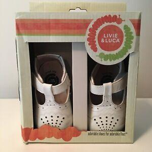 Livie & Luca CORA Milk Baby Girl  White Dress Mary Jane Shoes 6-12 Months