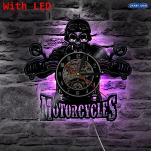 Motorcycles Bikers Classic King Skull LED Light Color Change Vinyl Wall Clock