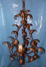 Antico prezioso raffinato lampadario bronzo a rami e foglie stile Liberty 3 luci