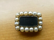 Antique Regency Georgian 14k 15k gold 1827 woven hair mourning brooch pin pearl