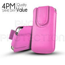 Botón Premium Pu Cuero tire Tab Funda Bolsa Para diversos Naranja móviles