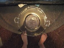 rose colored depression glass plater