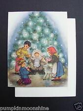 #E739- Unused Sacred Art Xmas Greeting Card Children Bringing Jesus Gifts.