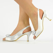 LADIES SATIN DIAMANTE WEDDING SHOES BRIDESMAID PARTY HEELS SANDALS SIZE 3-8