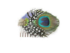 Real Peacock Feather Hair Comb Fascinator Boho Native American Vintage 1920 X-73