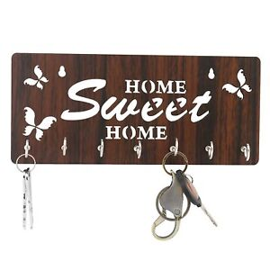 Wooden Brown Color Butterfly Wall Key Holder (7 Hooks),25 x 11 x 3 Centimeters