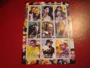 TAJIKISTAN - 2001 MTV AWARDS - MINISHEET - UNMOUNTED MINT MINIATURE SHEET