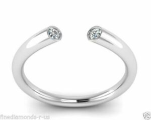 F/SI 0.14ct Round Diamond Flush Set Designer Engagement Ring, 9K White Gold