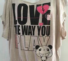 vintage Oatt USA Top Shirt M Med peek A boo sleeve Bling Love the way you play