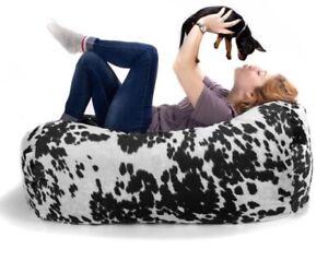 Black & White Cow Print Velvety Dorm Bedroom Lounger Bean Bag