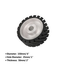 "6 Inch Rubber Serrated Sand Belt Grinder Wheel Polishing Contact Wheels 1"" Hole"