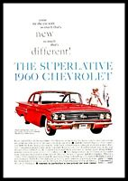 1960 CHEVROLET Bel Air Red 2-door Sedan Classic Car Photo AD