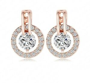 Halo Crystal Rose Gold Plated Pierced Earrings - New in Gift Box