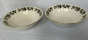 "Baum Brothers Formalities Holly Collection 2 Serving Bowls 9"" Round Holiday"