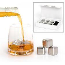 Acier Inoxydable ice cubes metal pierres Cocktail Whisky réutilisables Rocks-Lot de 6