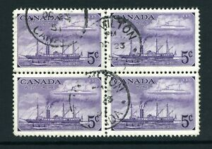 CANADA Scott 312 - USED - BLK of 4 - 5¢ Purple Stamp Centenary Issue (.008)