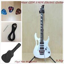 Haze GEM 1909 Electric Guitar w/Floyd Rose Bridge/Nut,HSH Pickups,White+Free Bag