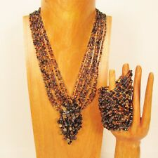 "16"" Handmade Gold Black Cluster Seed Bead Necklace/Bracelet PERFECT MATCH"