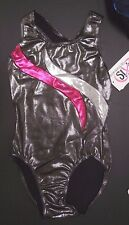 NWT Axis Gymnastic Dance Leotard charcoal/Silver/Azalea Foil Girls Medium  97193