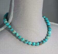 """TURQUOISE BLUE TERRA JASPER NECKLACE ~ 925 STERLING SILVER 18"""" IN LENGTH"""