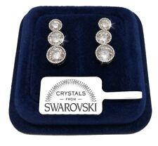 Orecchini tennis tondo donna pl. oro bianco 18K con cristalli swarovski SW/16